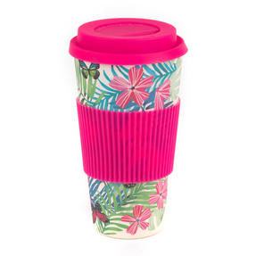 Cambridge CM05972 Tropical Forest Large Eco Travel Mug, Bamboo, Pink, 20 oz / 560ml