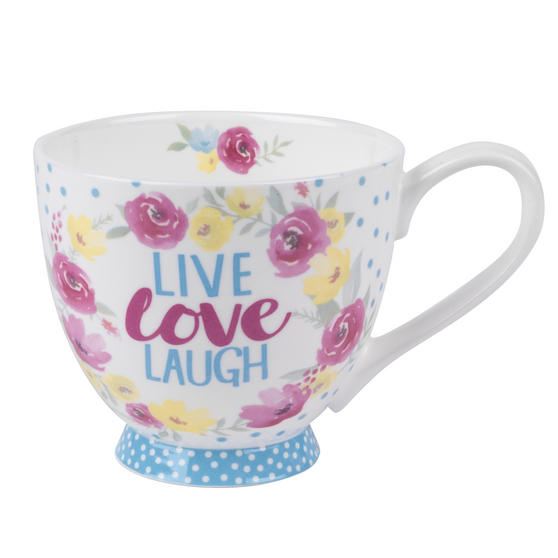Portobello Sandringham Live Love Laugh Floral Bone China Mug