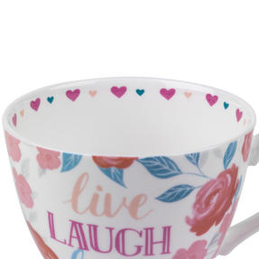 Portobello CM06017 Wilmslow Live Laugh Love Floral Bone China Mug Thumbnail 2