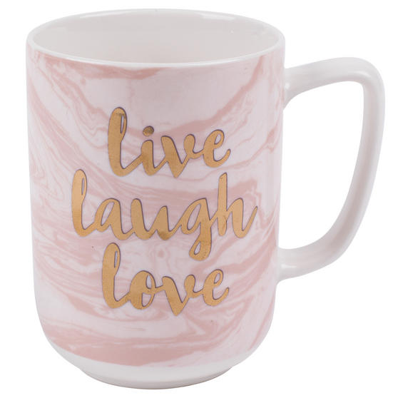 Portobello CM05997NBC Devon Marble Live Laugh Love New Bone China Mug, Pink and Gold