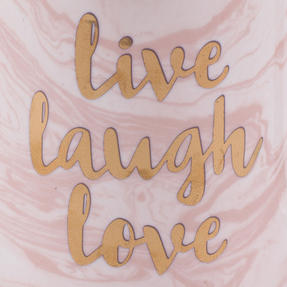 Portobello CM05997NBC Devon Marble Live Laugh Love New Bone China Mug, Pink and Gold Thumbnail 2