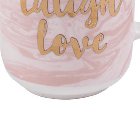 Portobello CM05997NBC Devon Marble Live Laugh Love New Bone China Mug, Pink and Gold Thumbnail 5