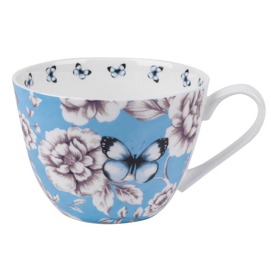 Portobello Wilmslow Vintage Summer Bone China Mug, Blue
