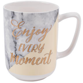 Portobello CM06021NBC Devon Marble Enjoy Every Moment New Bone China Mug, Yellow and Gold