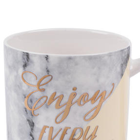 Portobello CM06021NBC Devon Marble Enjoy Every Moment New Bone China Mug, Yellow and Gold Thumbnail 3