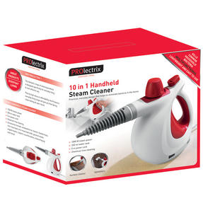 Prolectrix EF0270WK Lightweight 10 in 1 Multifunctional Handheld Steam Cleaner, Red/White, 1000W Thumbnail 7