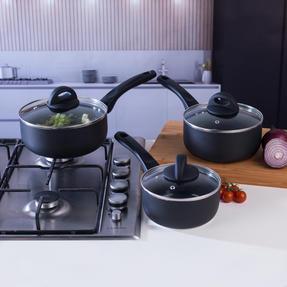 Beldray BW07015GP 3 Piece Non-Stick Ceramic Saucepan Set, 16/18/20 cm, Black Thumbnail 3