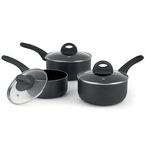 Beldray BW07015GP 3 Piece Non-Stick Ceramic Saucepan Set, 16/18/20 cm, Black Thumbnail 6