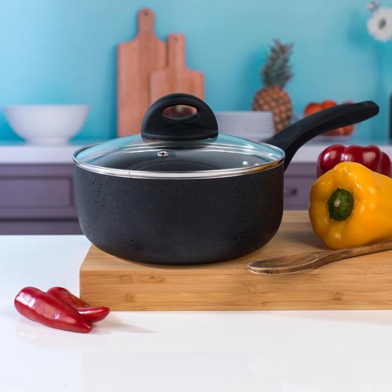 Beldray 4 Piece Non-Stick Pan Set with Frying Pan and Saucepans, Black Thumbnail 8