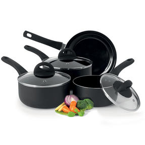 Beldray BW07016GP 4 Piece Non-Stick Pan Set with Frying Pan and Saucepans, Black Thumbnail 1