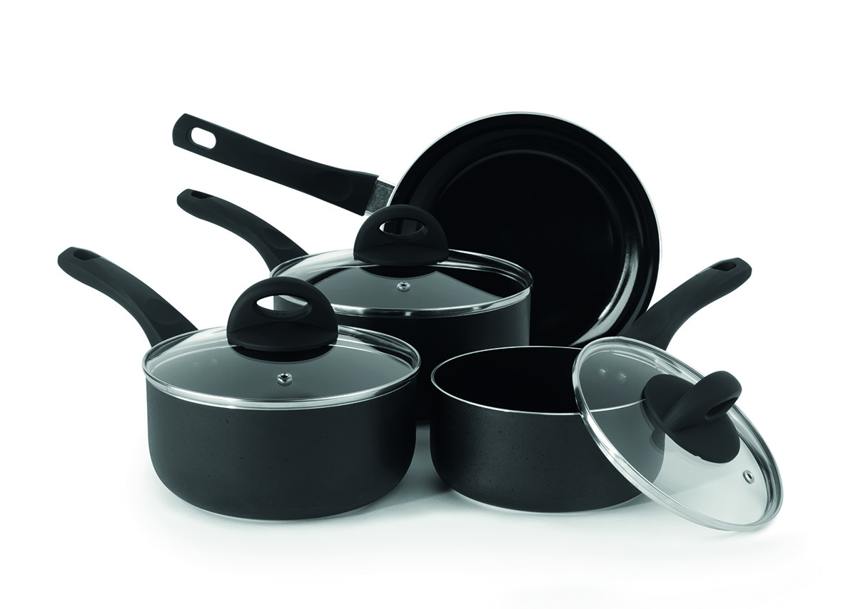Beldray BW07016GP 4 Piece Non-Stick Pan Set with Frying Pan and Saucepans, Black Thumbnail 5
