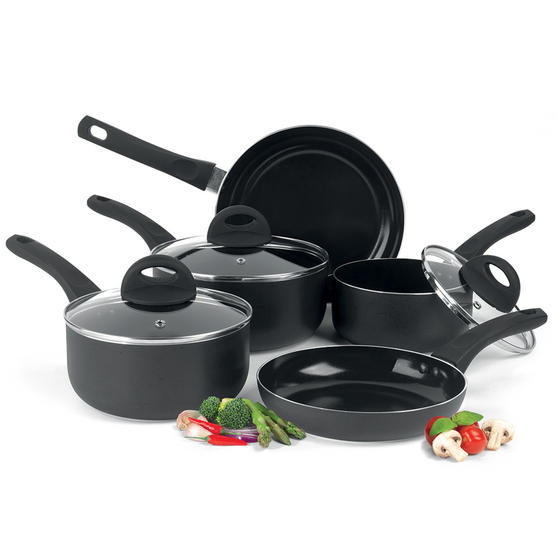 Beldray 5 Piece Non-Stick Pan Set with Frying Pans and Saucepans, Black