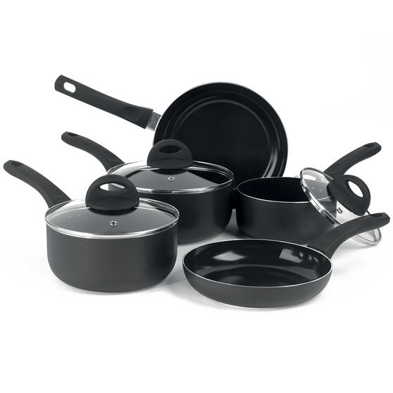 Beldray 5 Piece Non-Stick Pan Set with Frying Pans and Saucepans, Black Thumbnail 8