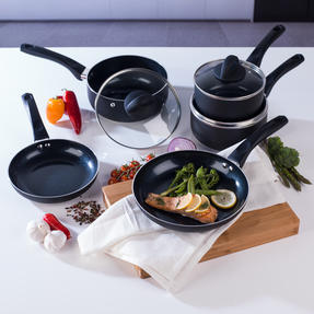 Beldray BW07017GP 5 Piece Non-Stick Pan Set with Frying Pans and Saucepans, Black Thumbnail 2