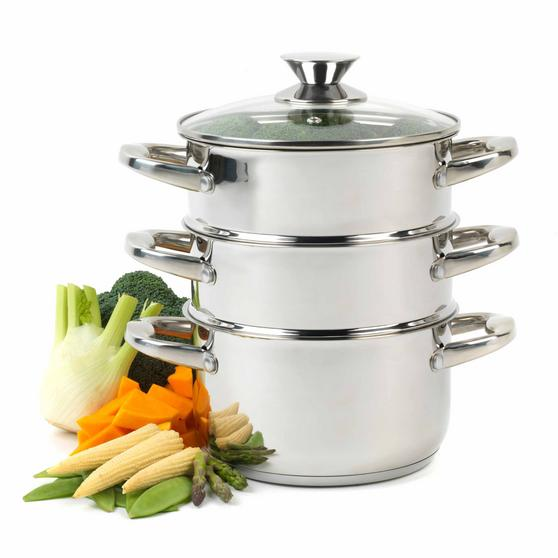 Beldray 3-Tier Food Rice Meat Vegetable Hob Steamer, 18 cm, Stainless Steel Thumbnail 1