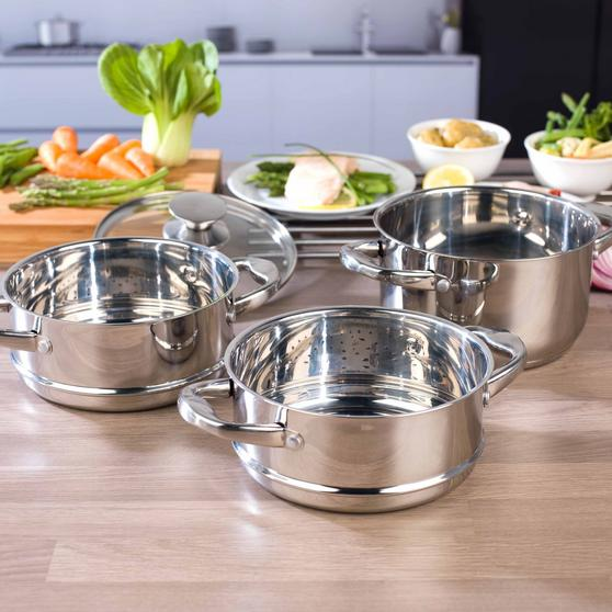 Beldray 3-Tier Food Rice Meat Vegetable Hob Steamer, 18 cm, Stainless Steel Thumbnail 3