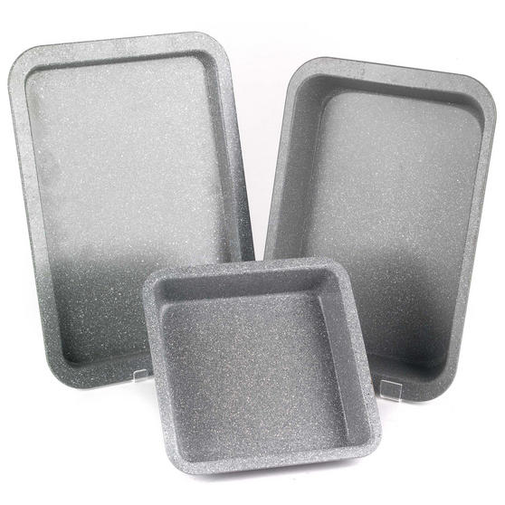 Salter COMBO-2184 Marble Collection Carbon Steel Non Stick 3 Piece Oven Tray Set, Grey