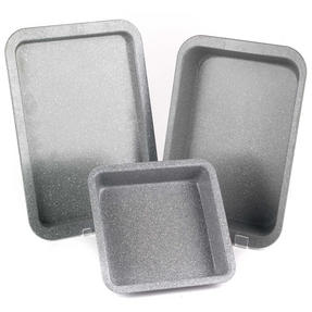 Salter COMBO-2184 Marble Collection Carbon Steel Non Stick 3 Piece Oven Tray Set, Grey Thumbnail 1