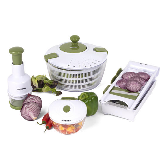 Salter Healthy Eating Food Preparation Set with Choppers, Mandolin and Salad Spinner
