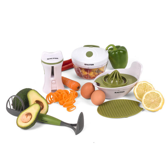 Salter Healthy Eating Food Preparation Starter Kit, Green/White