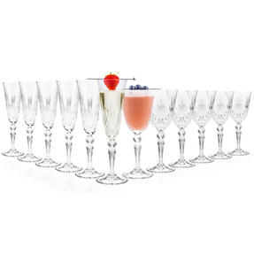 RCR COMBO-2077 Melodia Crystal Set of 6 Wine Glasses and Set of 6 Champagne Flutes Thumbnail 2