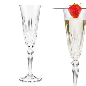 RCR COMBO-2077 Melodia Crystal Set of 6 Wine Glasses and Set of 6 Champagne Flutes Thumbnail 6