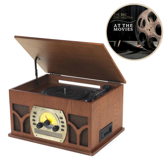 Intempo COMBO-2291  Vintage Record Player Turntable Media Unit with BBC Orchestra Vinyl, Wood