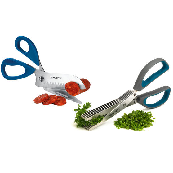 Progress 4-in-1 Multipurpose Kitchen Scissors and 5-Blade Herb Scissors, Grey/Teal
