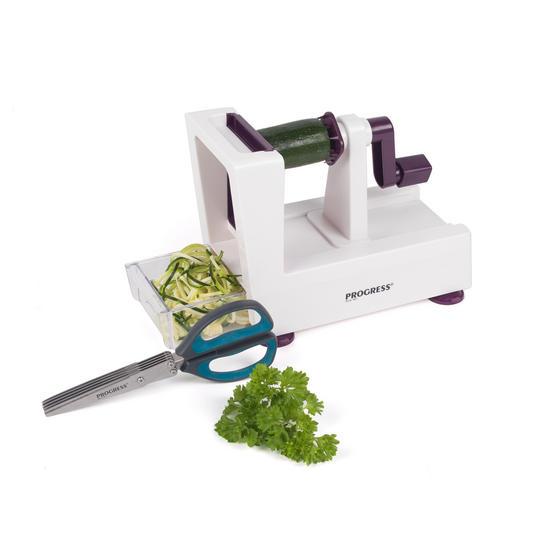 Progress COMBO-2295 Be Balanced 3 Blade Healthy Food Spiralizer with Herb Scissors, Purple/Teal