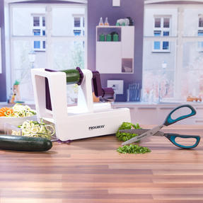 Progress COMBO-2295 Be Balanced 3 Blade Healthy Food Spiralizer with Herb Scissors, Purple/Teal Thumbnail 2