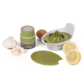Salter COMBO-2297 Healthy 4-in-1 Food Preparation Set with Garlic Grinder, White/Green