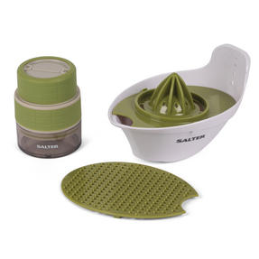 Salter Healthy 4-in-1 Food Preparation Set with Garlic Grinder, White/Green Thumbnail 9