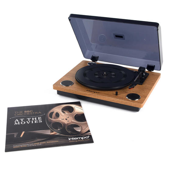 Intempo Revolve Turntable Vinyl Record Player with BBC Orchestra Vinyl, Oak