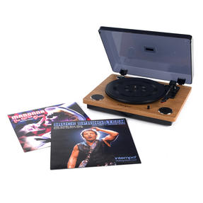 Intempo COMBO-3070 Revolve Turntable Vinyl Record Player with Bruce Springsteen and Madonna Live Vinyls, Oak