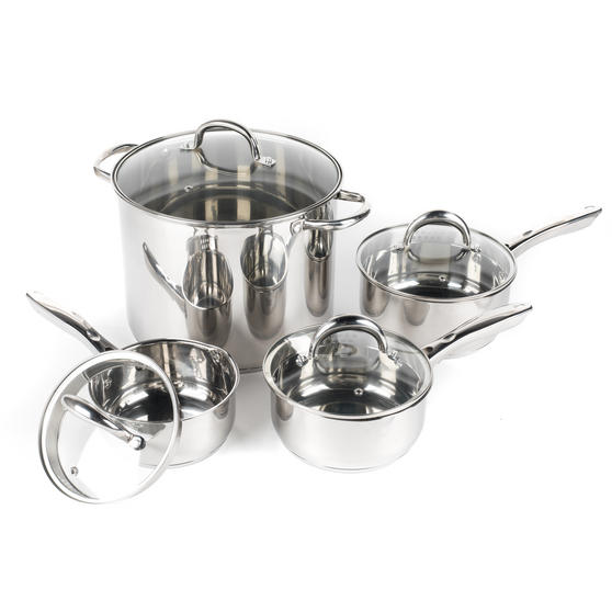 Russell Hobbs Saucepan Set with Stock Pot, 4 Piece, Stainless Steel