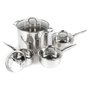 Russell Hobbs Saucepan Set with Stock Pot, 4 Piece, Stainless Steel Thumbnail 1