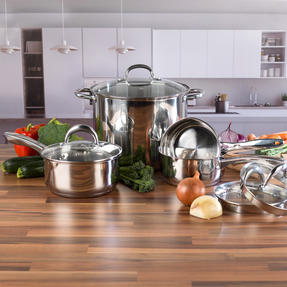 Russell Hobbs Saucepan Set with Stock Pot, 4 Piece, Stainless Steel Thumbnail 2