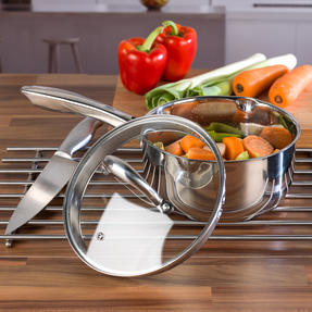 Russell Hobbs Saucepan Set with Stock Pot, 4 Piece, Stainless Steel Thumbnail 5