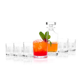 RCR COMBO-2188 Timeless Crystal Whisky Tumblers and Square Decanter, 7 Piece Thumbnail 3