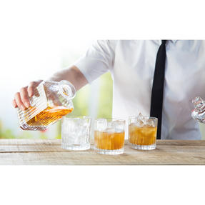 RCR COMBO-2188 Timeless Crystal Whisky Tumblers and Square Decanter, 7 Piece Thumbnail 5