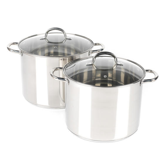 Russell Hobbs COMBO-2237 Stock Pots with Glass Lids, Induction Safe, 28 / 30 CM, 13.5 / 16 Litres