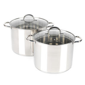 Russell Hobbs COMBO-2237 Stock Pots with Glass Lids, Induction Safe, 28 / 30 CM, 13.5 / 16 Litres Thumbnail 1