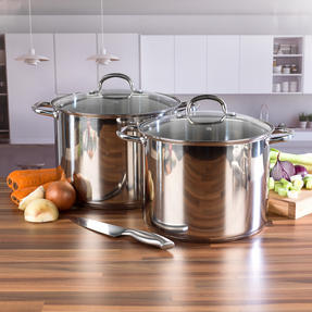 Russell Hobbs COMBO-2237 Stock Pots with Glass Lids, Induction Safe, 28 / 30 CM, 13.5 / 16 Litres Thumbnail 2