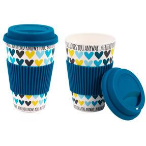 Cambridge COMBO-3077 Set of 2 A Friend Loves You Heart Bamboo Eco Travel Mug
