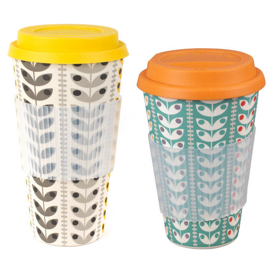 Cambridge COMBO-3080 Retro Daisy Travel Mugs Sippy Cups, Set of 2, Small/Large