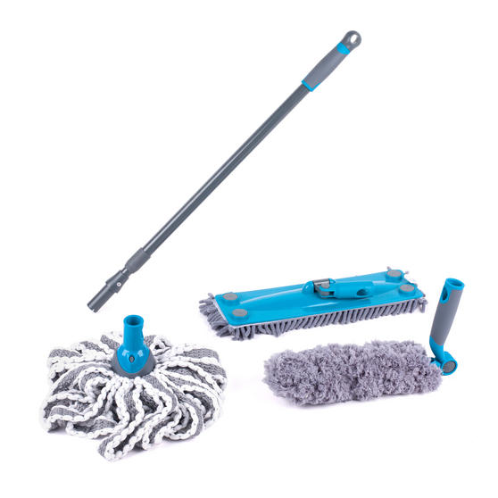 Beldray COMBO-2290 Click and Connect Telescopic Handle w/ Chenille Mop, Microfibre Mop and Duster