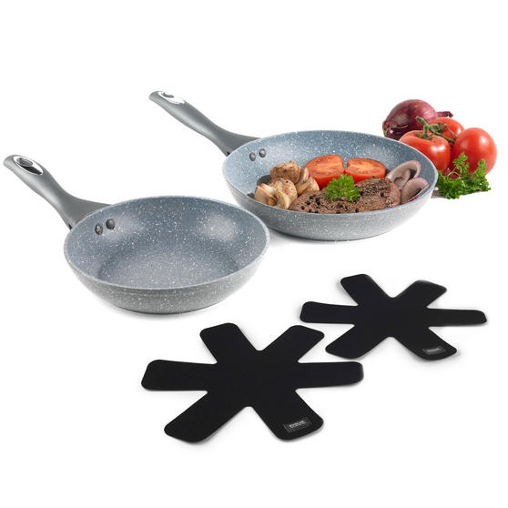 Salter COMBO-3124 Marble Collection Frying Pan Set with Pan Protectors, 24 / 28 cm