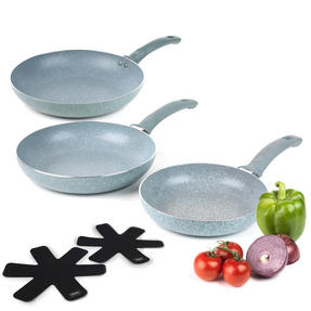 Russell Hobbs COMBO-3125 Stone Collection Frying Pan Set with Pan Protectors, 20 / 24 / 28 cm, Daybreak