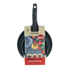 Salter COMBO-3126 Megastone Collection Non-Stick Forged Frying Pan Set with Pan Protectors, Silver Thumbnail 4