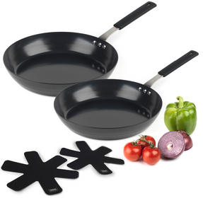Salter COMBO-3127 Pan For Life Frying Pan Set with Pan Protectors, 24 / 28 cm, Black